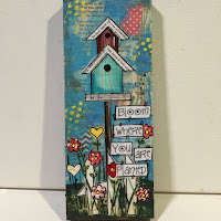 birdhouse art, painted birdhouse