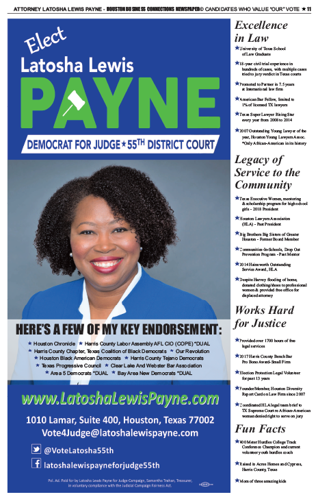 PAGE 11 - HOUSTON BUSINESS CONNECTIONS NEWSPAPER© RUNOFF ELECTION - PART 1 of 3