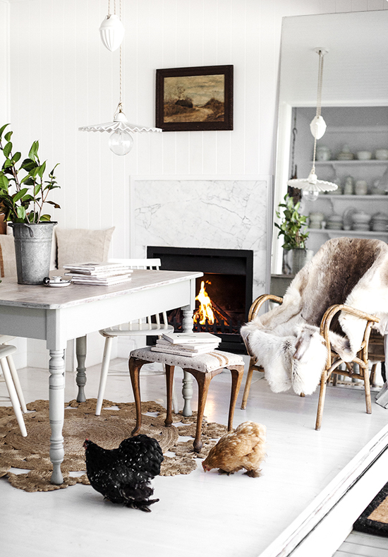 Cozy country scene in the home of Kara Rosenlund