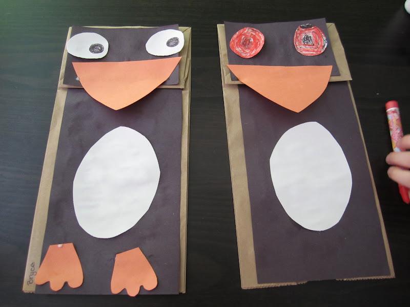 kidtastic crafts  paper bag penguins