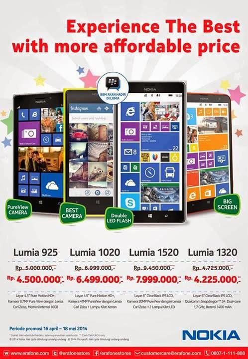 Promo Nokia Lumia 925, 1020, 1320 dan 1520