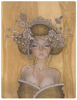 Audrey Kawasaki Madera Geisha Wood draw drawing dibujo