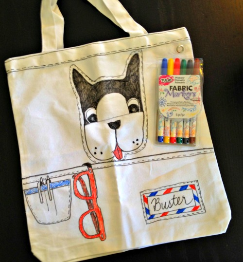 DIY Doggie Tote with Trompe l'oeil pocket and glasses - Make with Tulip Fabric Markers
