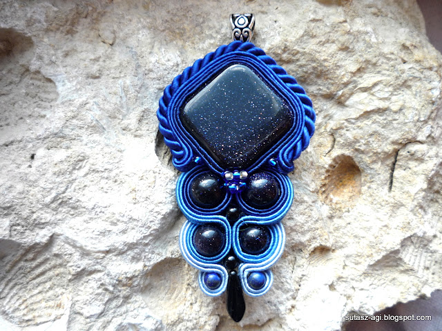 blue soutache pendant