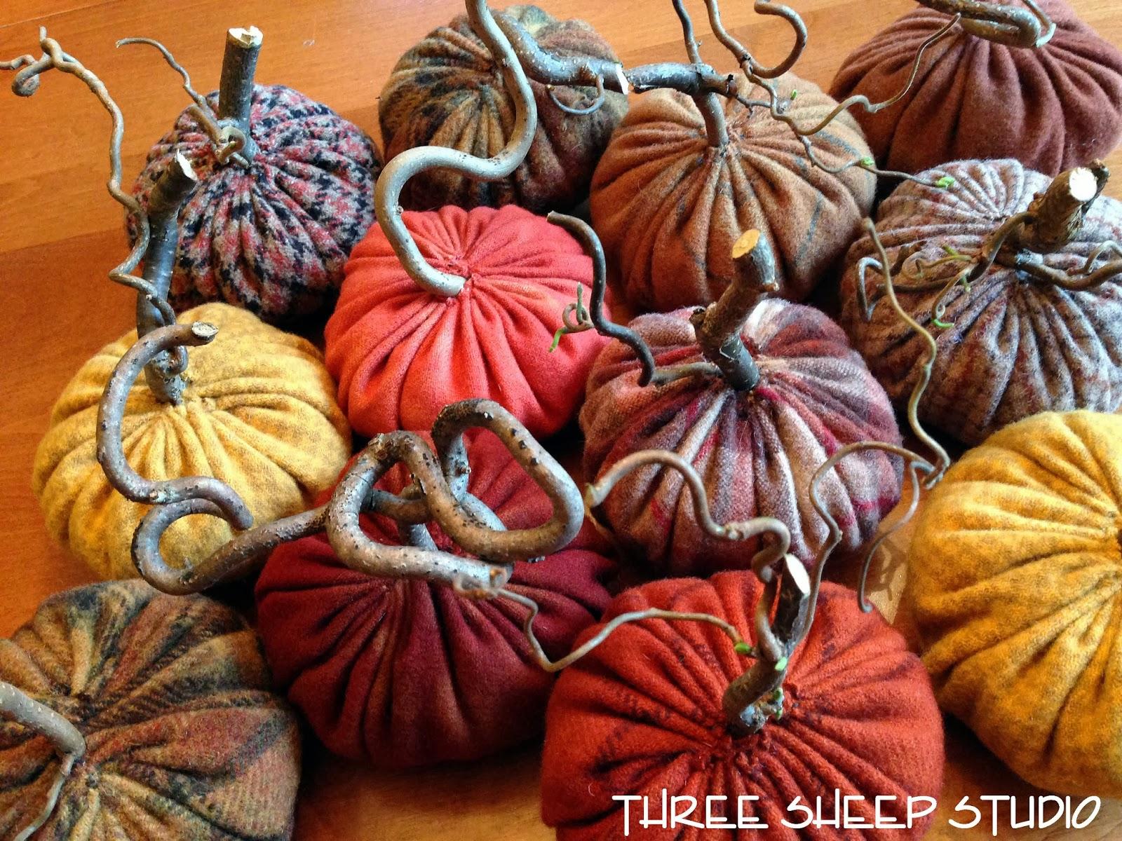 Three Sheep Studio Rustic Wool Pumpkins With Angry Gnarled Stems