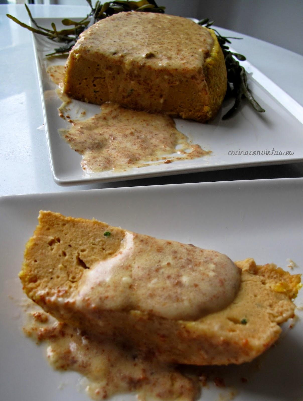 Pastel de Salmonetes (en microondas) con salsa de Erizos de Mar