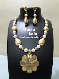 Antique Gold and White Glass Beads Necklace