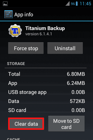 clear data Titanium Backup
