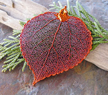 real iridescent copper dipped aspen leaf