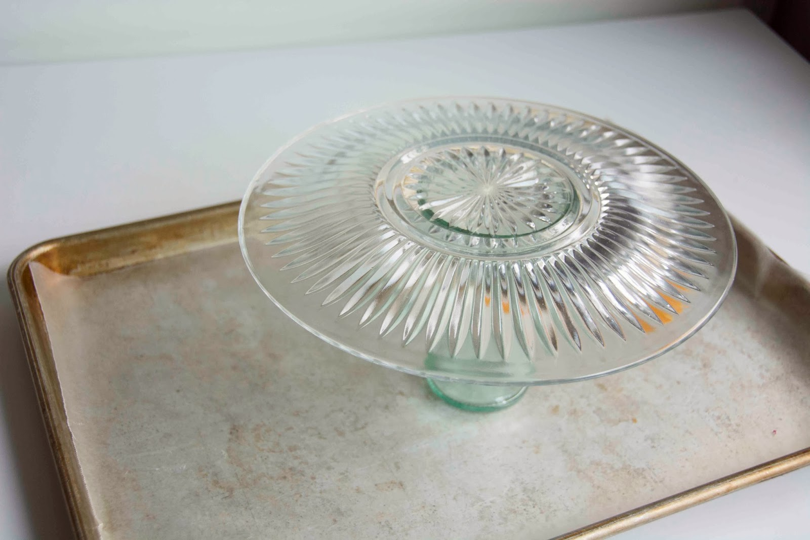 Colored glass cake stand aurora 3 piece silver for Colored glass cake stand