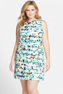 Vince Camuto Embellished Neck Print Sleeveless Sheath Dress (Plus Size)