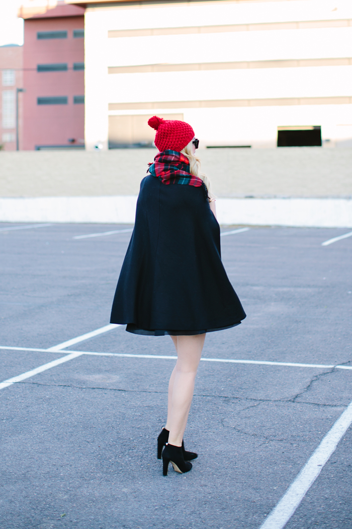 Old Navy, Plaid, Flannel, Tartan, Scarf, Zara, Black, Cape, Red, Pom Pom, Beanie, Knit, Hat, HM, Mesh, Skater Skirt, ALC, Nat, Wrapped, Crop Top, Kate Spade, Netta, Booties, Boots, Bow, Celine Sunglasses, Brandy Pham, Cylinder Bracelet, YSL, Saint Laurent, Red Patent, Foldover, Clutch, Fall, Winter, #oldnavystyle, #madforplaid, A Little Dash of Darling, Caitlin Lindquist, Fall Outfit, Winter Fashion, Blog, Arizona, Scottsdale, Phoenix, Outfit Ideas, Outfit Inspiration, Holiday Party,