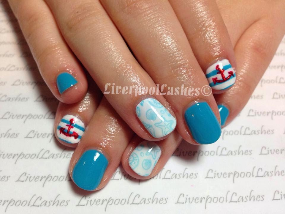 nautical nails seaside nails shellac nail technician liverpoollashes liverpool lashes blogger bbloggers