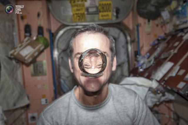 Канадский астронавт Кристофер Хэдфилд и капля воды. (NASA NASA/REUTERS)