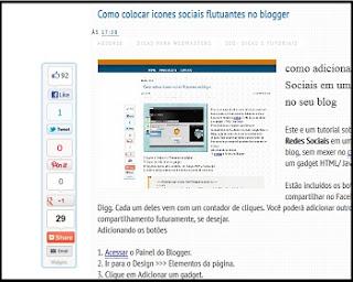 Como colocar icones sociais flutuantes no blogger