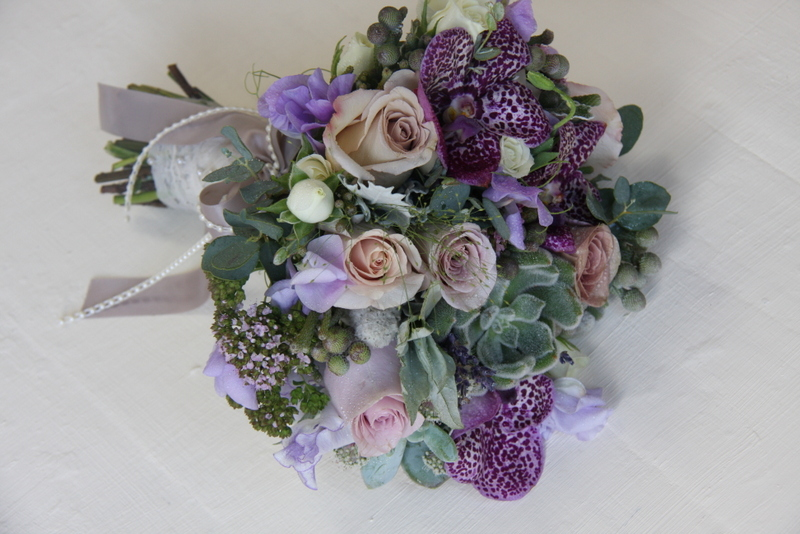 In This Lovely Silvery Grey Lilacy Purple Wedding Bouquet I Included Roses Metalina Amnesia Safi Blue And Snowflake Astrantia Black Magic Vanda