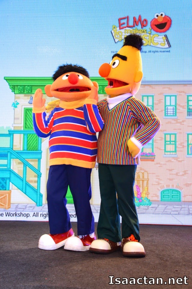 Ernie and Bert from Sesame Street entertaining the bloggers and media at the launch event
