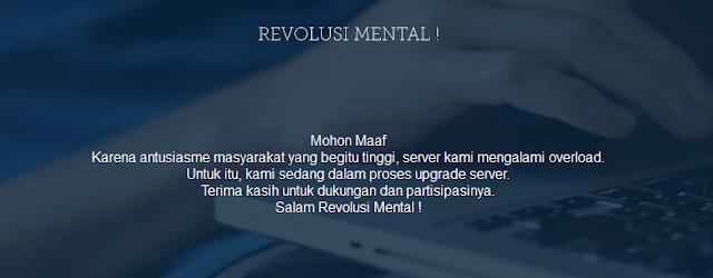 Tampilan website revolusi mental saat ini
