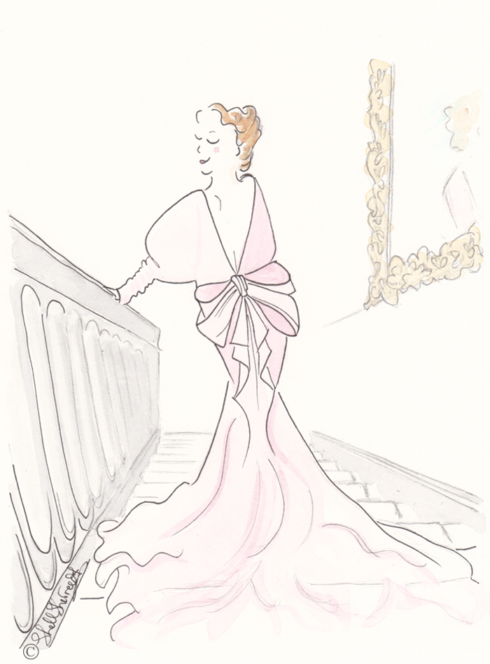Fashion illustration : Shimmy Chic the Pink Downstairs,  © Shell-Sherree