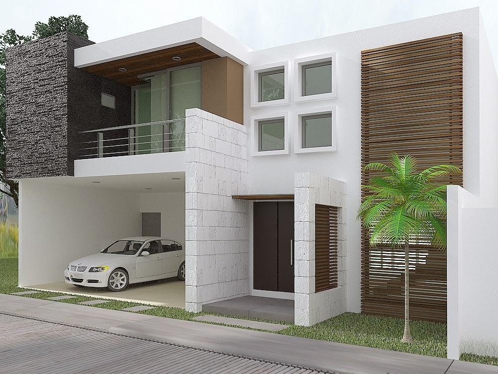 Fachadas contempor neas hermosa casa con fachada for Fachadas de casas modernas con zaguan