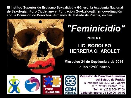 Conferencia próximo míercoles Feminicidio