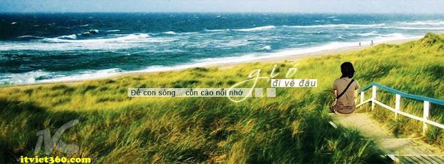 Ảnh bìa Facebook biển & tâm trạng - cover FB timeline, girl buồn ngồi trước biển, gió đi về đâu nỗi nhớ