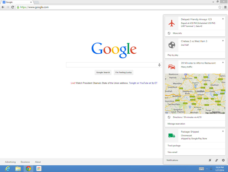 Google Now Chromeブラウザ