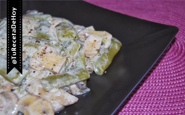 Receta de judías verdes con champiñones en salsa de yogur griego