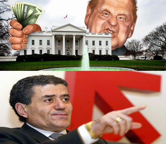 Sheldon Adelson (Top - Illustration by DonkeyHotey) and Haim Saban.