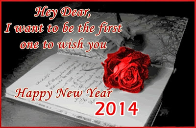 Rose Flowers Happy New Year Wishes Greetings Cards 2014 Images Wallpapers