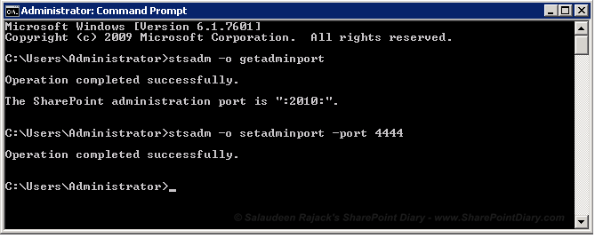 How to change SharePoint 2007 central administration port