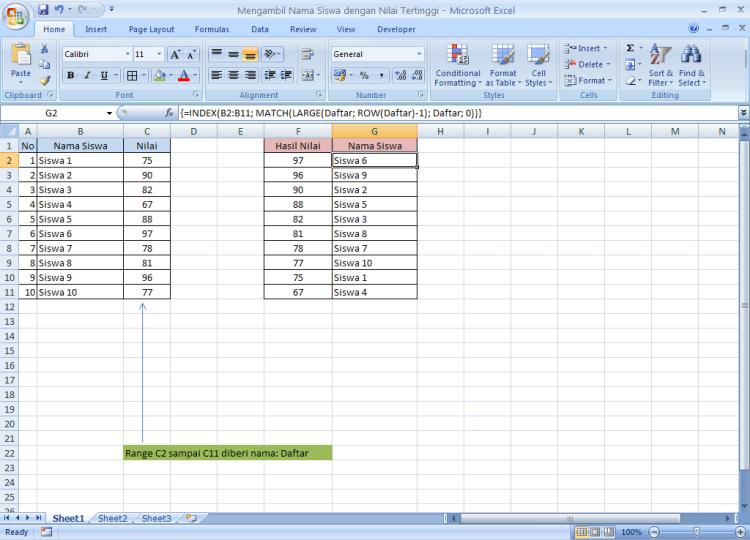Belajar Microsoft Excel - Formula untuk Mengambil atau Mengurutkan Nama Siswa dengan Nilai Tertinggi