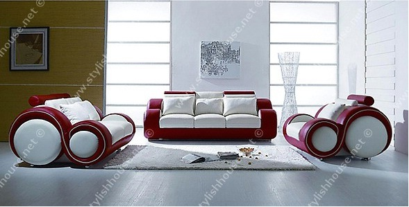 Sofa design with red and white composition