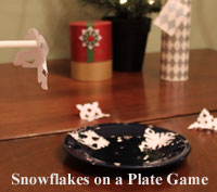 Kid's Christmas party Game Ideas - Snowflakes on a Plate