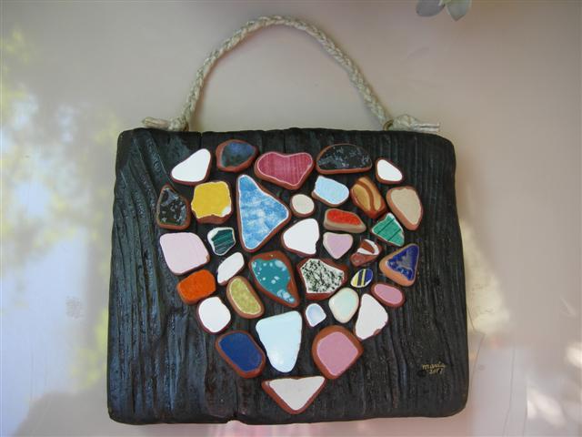 Cose di clem: mosaico un cuore che viene dal mare
