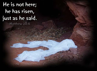 He is not here he has risen, just as he said Bible verse wallpaper