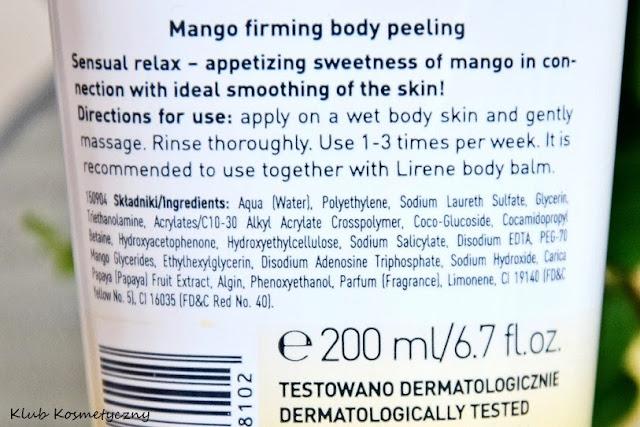 Lirene peeling ujędrniający MANGO skład