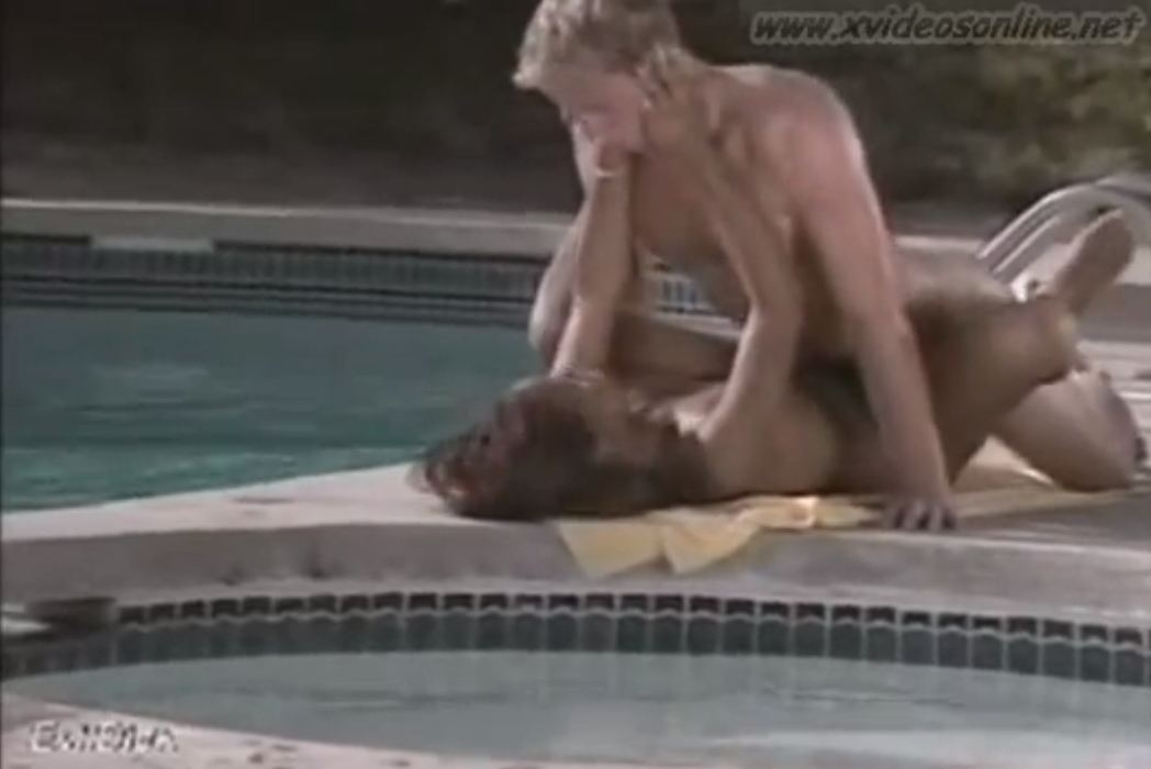 Ebony Teen Girl and White Boy Pool Sex