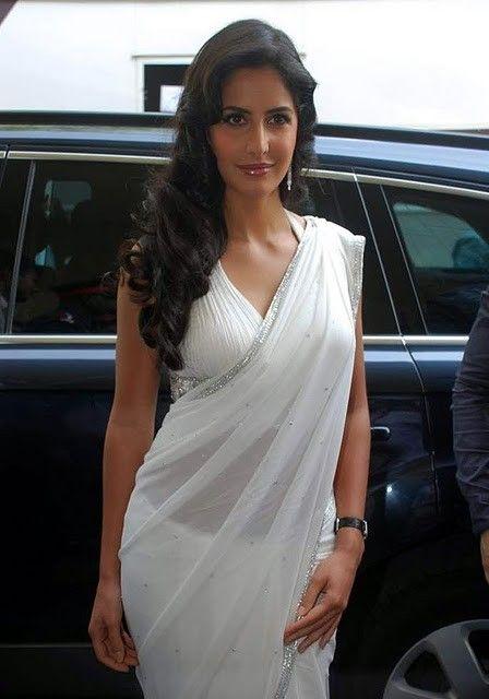 bollywood katrina kaif white saree