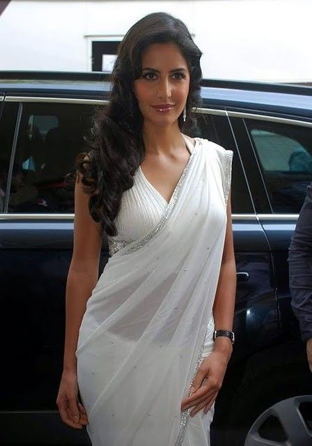 Bollywood Actress Katrina Kaif White Saree Stills Photogallery hot photos
