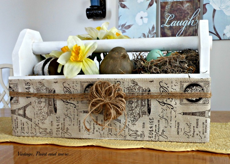 Vintage, Paint and more... vintage toolbox used as a Spring table centerpiece