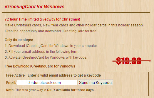 Giveaway iGreetingCard for Windows