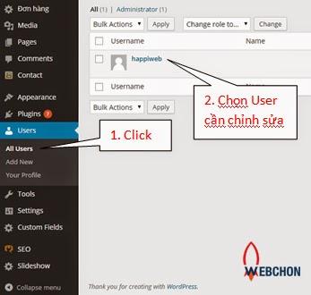 Thay đổi mật khẩu quản trị trong wordpress