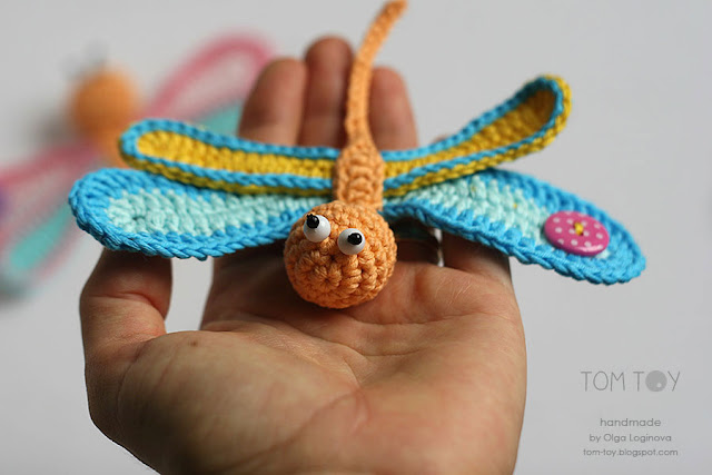 Handmade crochet applique - colorful dragonfly