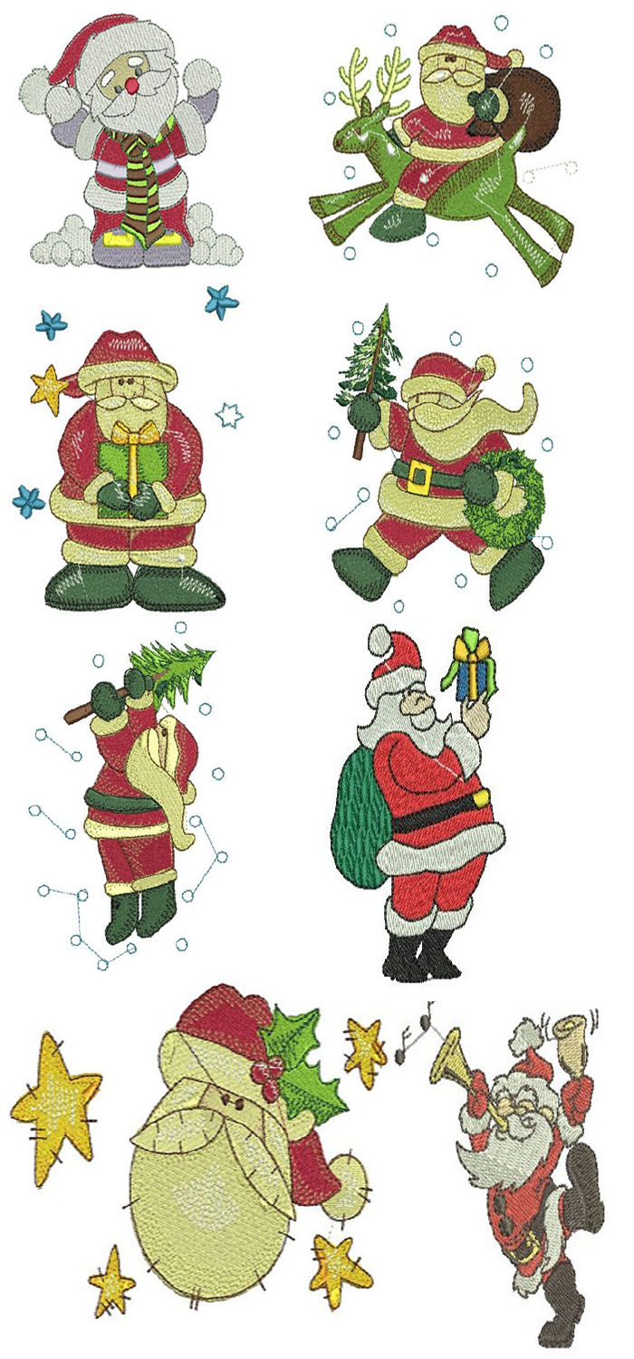 download 8 santa claus machine embroidery designs