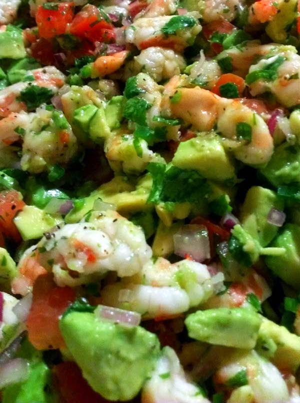 Mexican Ceviche with Avocado, Tomatoes, Onions, Cilantro, Bell Peppers, Olives, Capers and Jalapenos. Just mix in your favorite meat: Shrimp, Fish or Crabs.