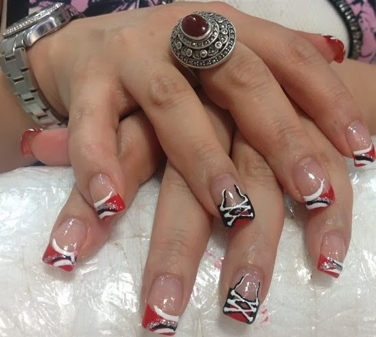 Sculpted Red Acrylics With Black, White And Silver Nail Art And Corset Ring  Finger Feats