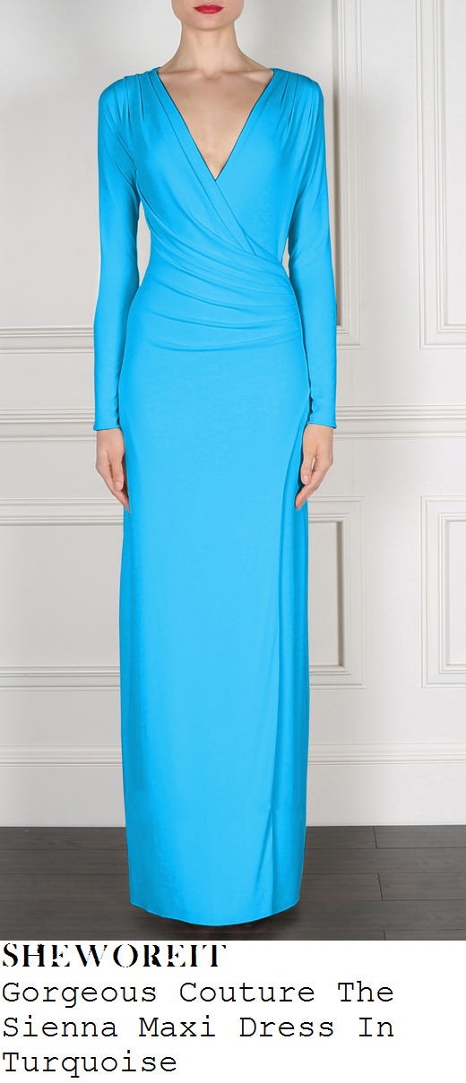 helen-flanagan-bright-turquoise-blue-long-sleeve-plunge-front-maxi-dress-mirror-ball