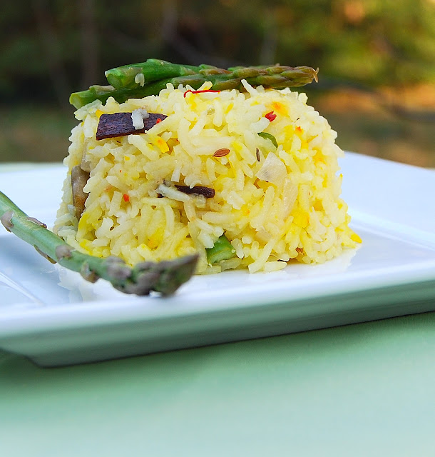Vegetarian and gluten-free recipe for Asparagus Biryani