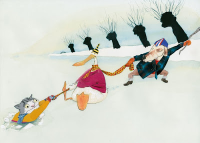robert wagt illustration of cat skating and being saved from an ice hole